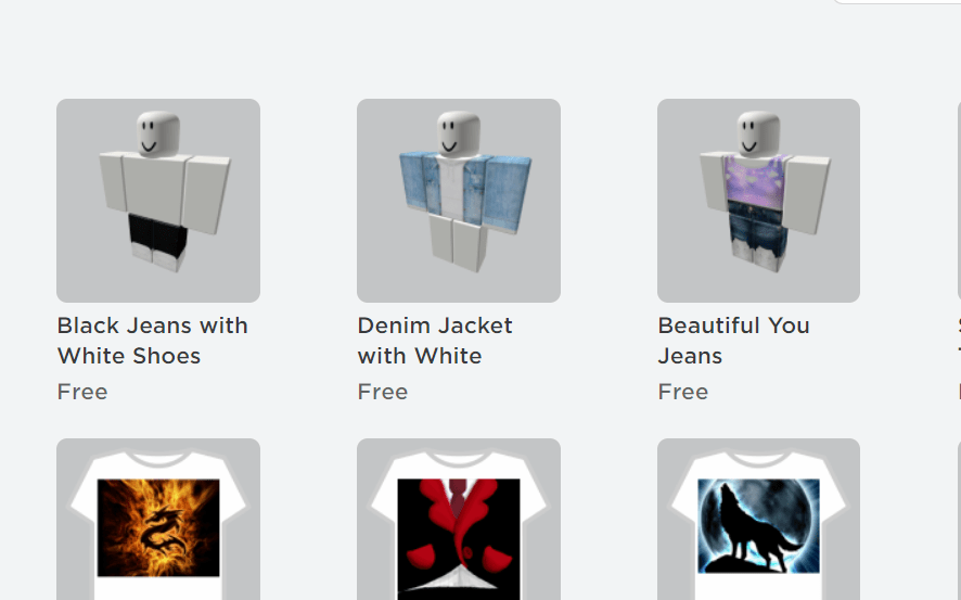 Roblox free items for Clothing  2021